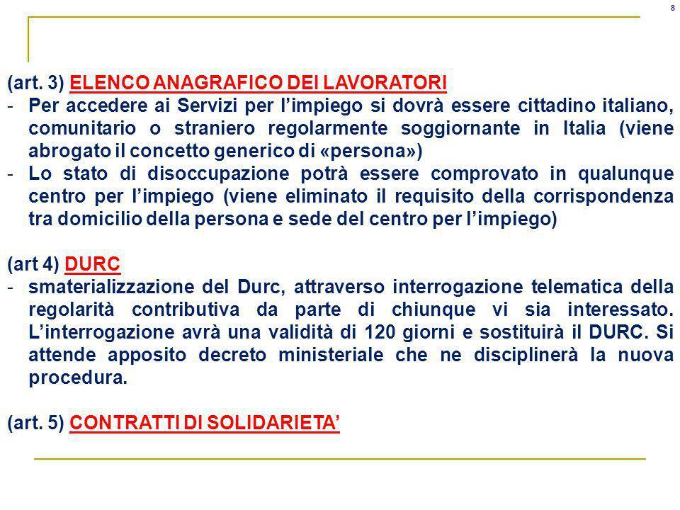 (art. 3) ELENCO ANAGRAFICO DEI LAVORATORI