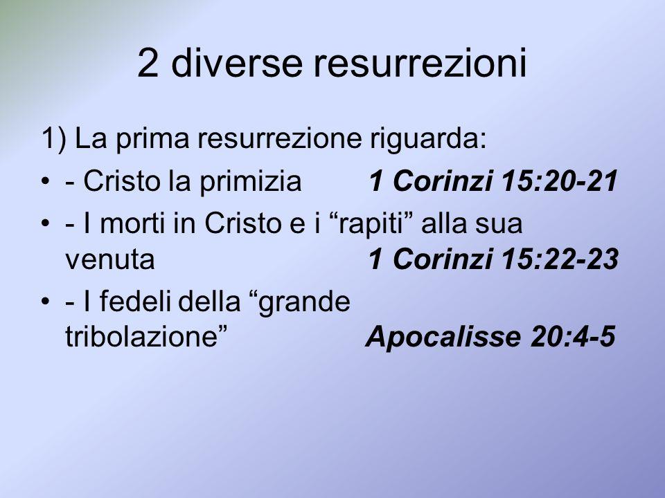 2 diverse resurrezioni 1) La prima resurrezione riguarda: