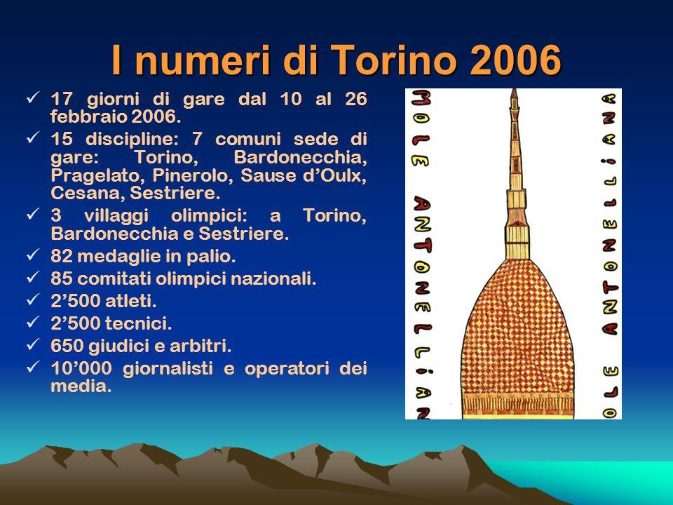 I numeri di Torino 2006 17 giorni di gare dal 10 al 26 febbraio 2006.