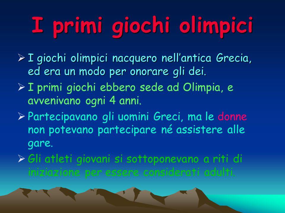I primi giochi olimpici