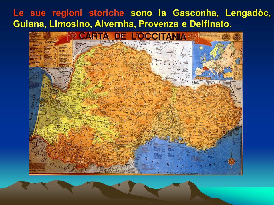 Le sue regioni storiche sono la Gasconha, Lengadòc, Guiana, Limosino, Alvernha, Provenza e Delfinato.