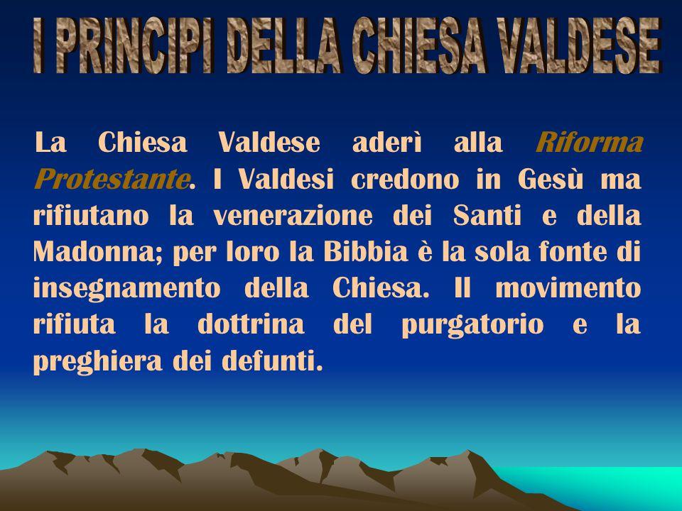 I PRINCIPI DELLA CHIESA VALDESE