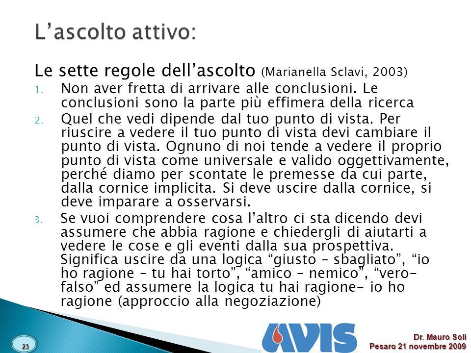 L'ascolto attivo: Le sette regole dell'ascolto (Marianella Sclavi, 2003)