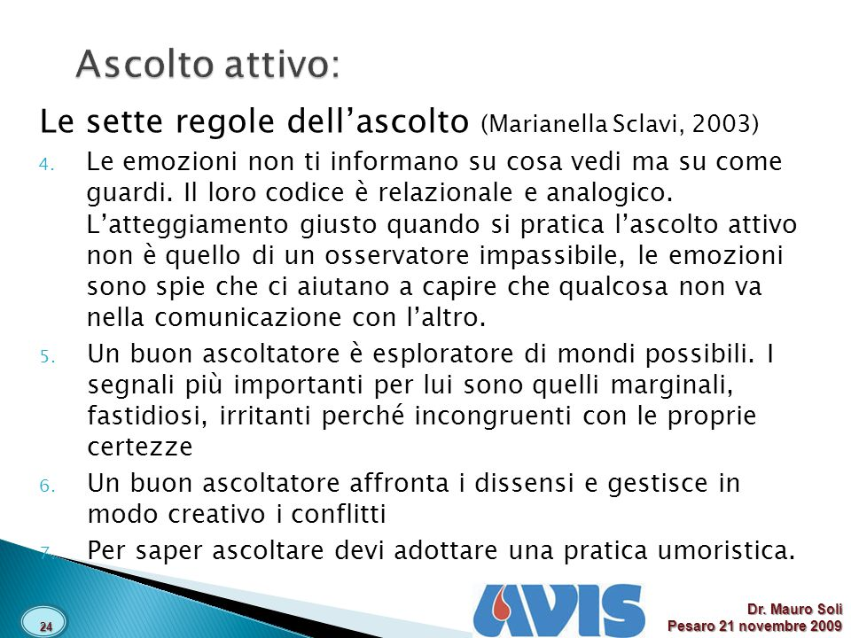 Ascolto attivo: Le sette regole dell'ascolto (Marianella Sclavi, 2003)