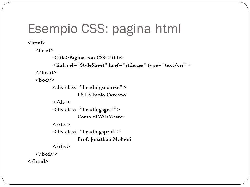 Esempio CSS: pagina html