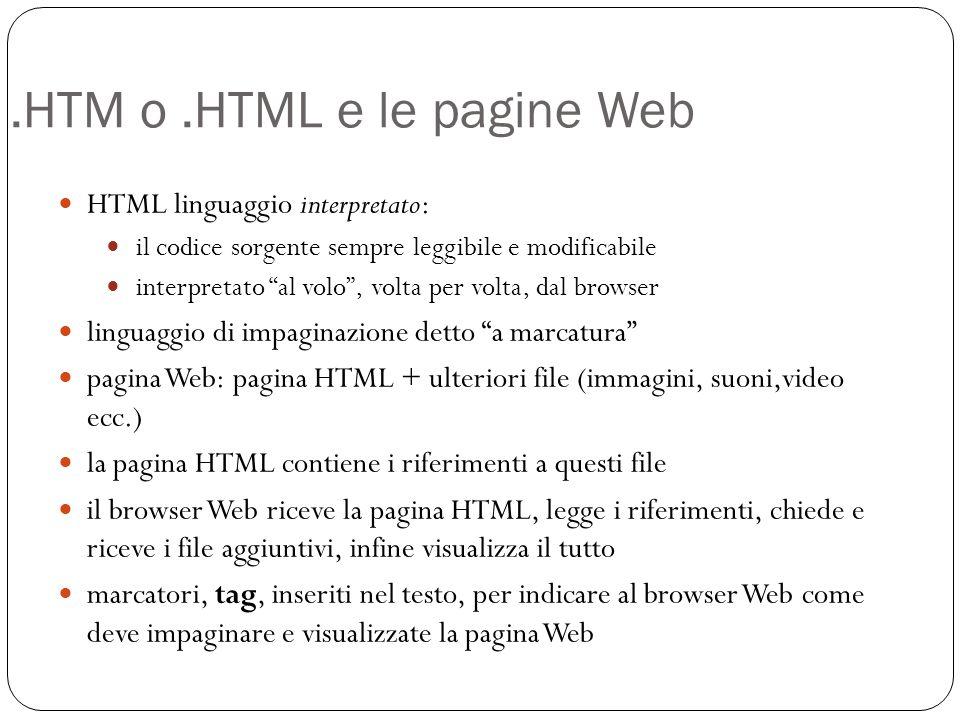 .HTM o .HTML e le pagine Web