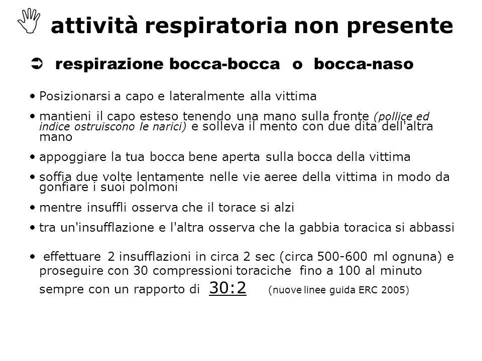  attività respiratoria non presente