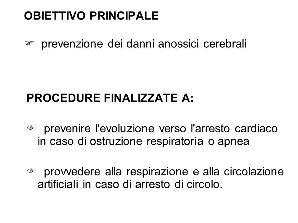 OBIETTIVO PRINCIPALE  prevenzione dei danni anossici cerebrali