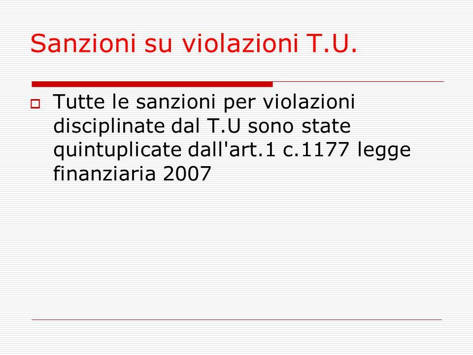 Sanzioni su violazioni T.U.