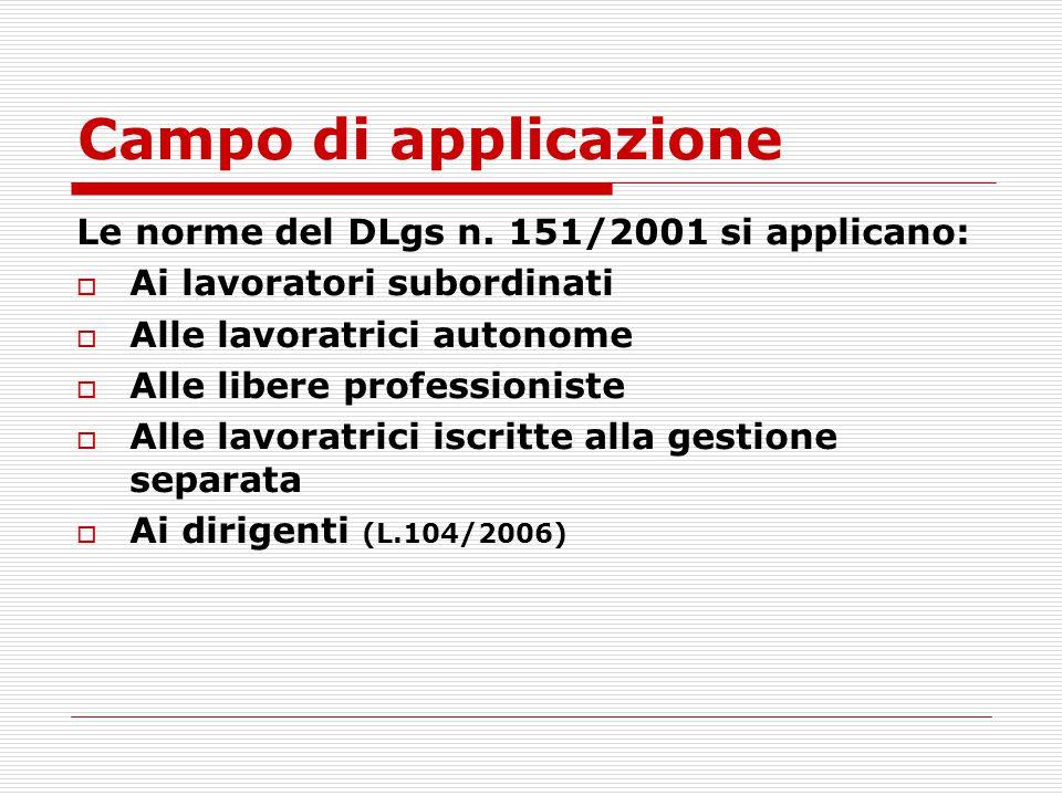 Campo di applicazione Le norme del DLgs n. 151/2001 si applicano: