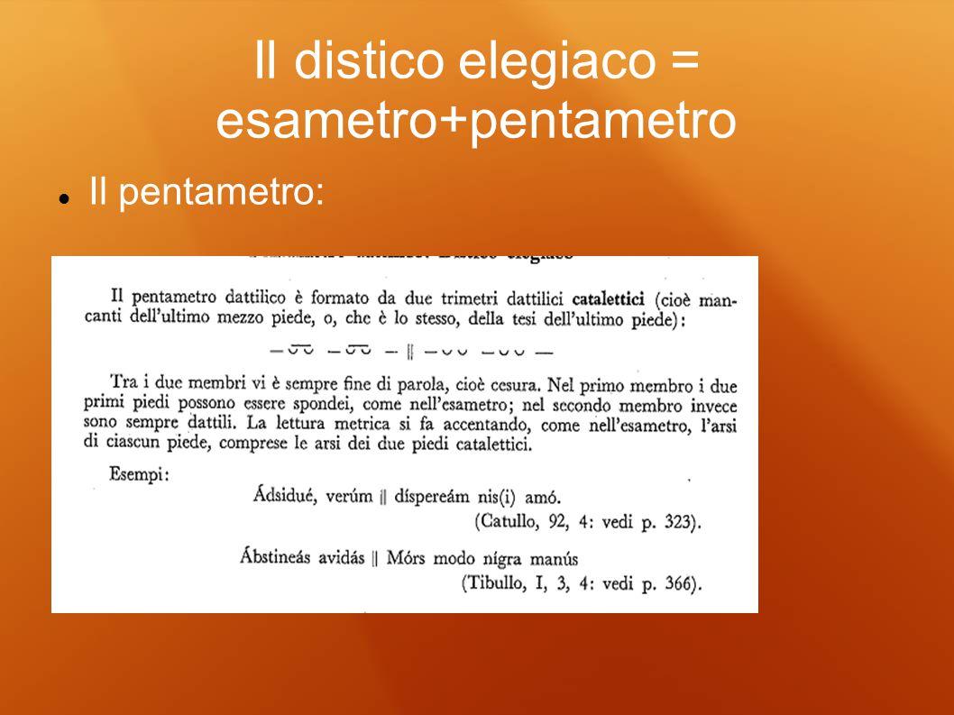 Il distico elegiaco = esametro+pentametro