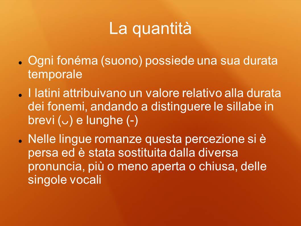La quantità Ogni fonéma (suono) possiede una sua durata temporale