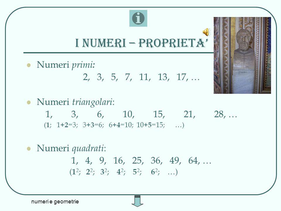 I numeri – proprieta' Numeri primi: 2, 3, 5, 7, 11, 13, 17, …