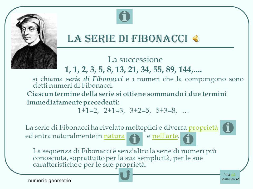 La serie di fibonacci La successione. 1, 1, 2, 3, 5, 8, 13, 21, 34, 55, 89, 144,....