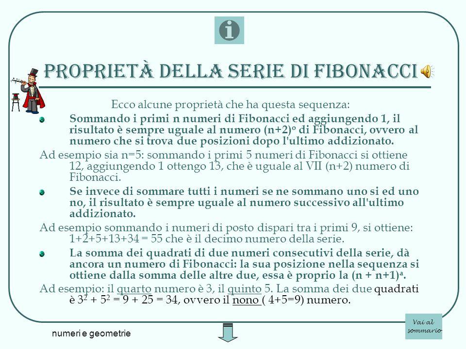 proprietà della serie di fibonacci