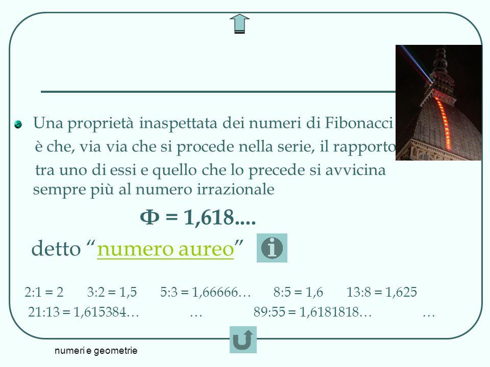 Φ = 1,618.... detto numero aureo