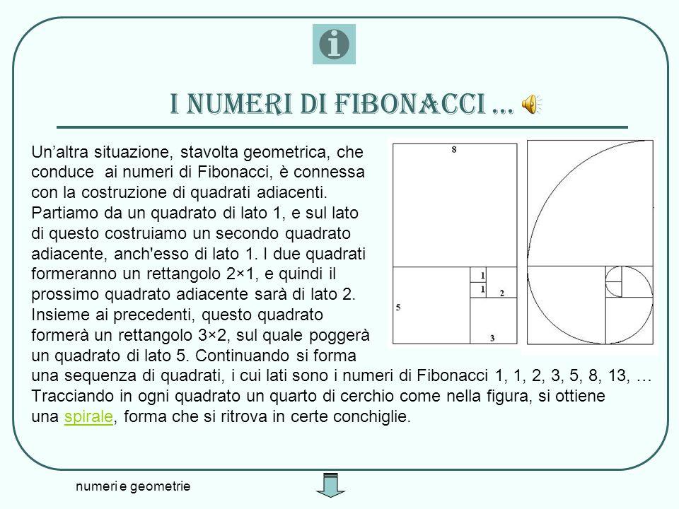 I numeri di fibonacci ... Un'altra situazione, stavolta geometrica, che. conduce ai numeri di Fibonacci, è connessa.