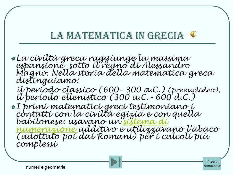 La matematica in grecia