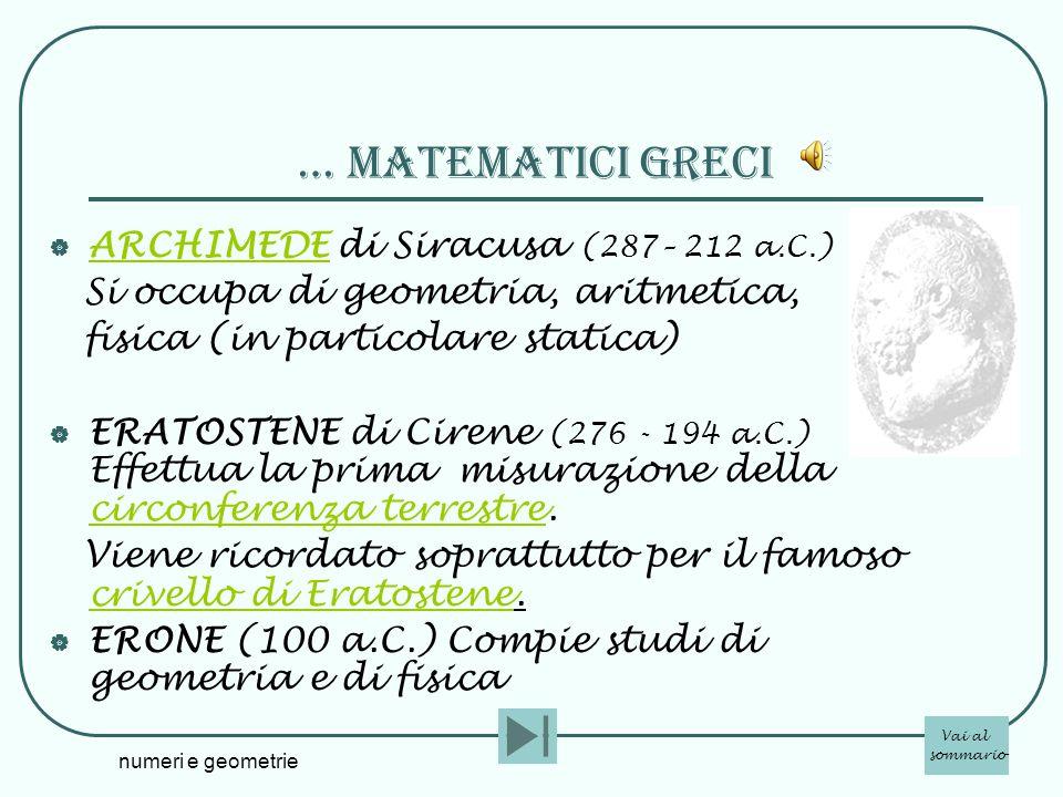 … matematicI greci ARCHIMEDE di Siracusa (287– 212 a.C.)