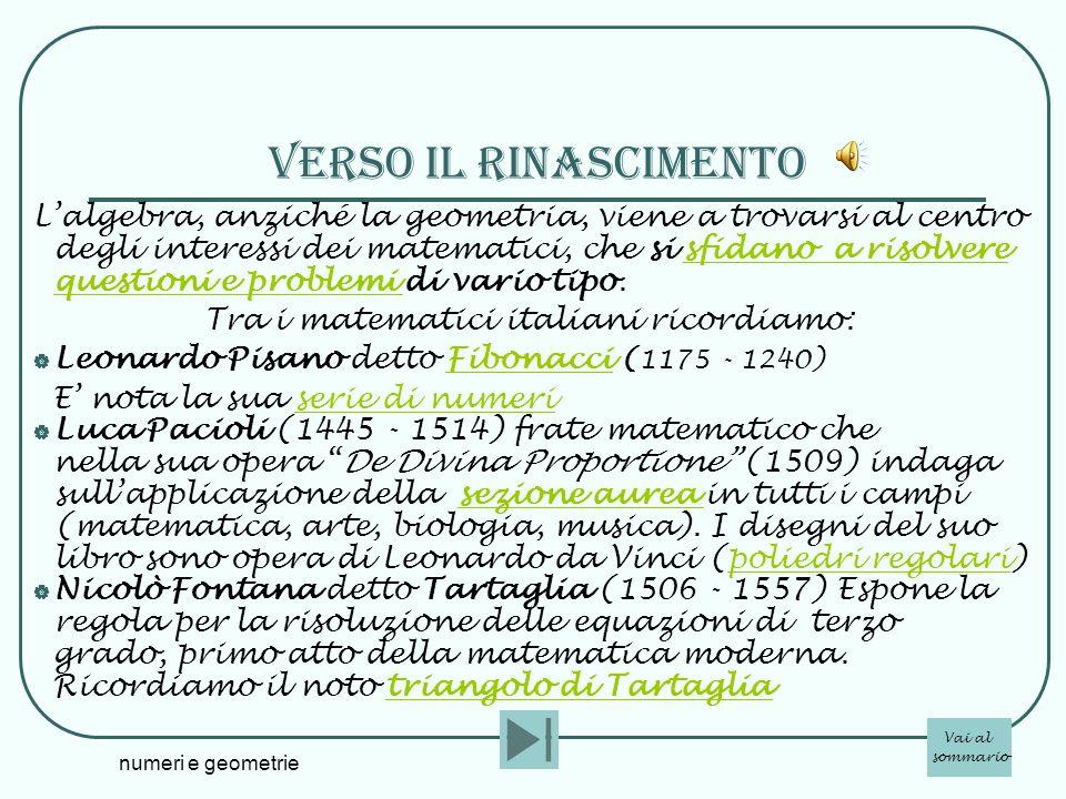 Tra i matematici italiani ricordiamo: