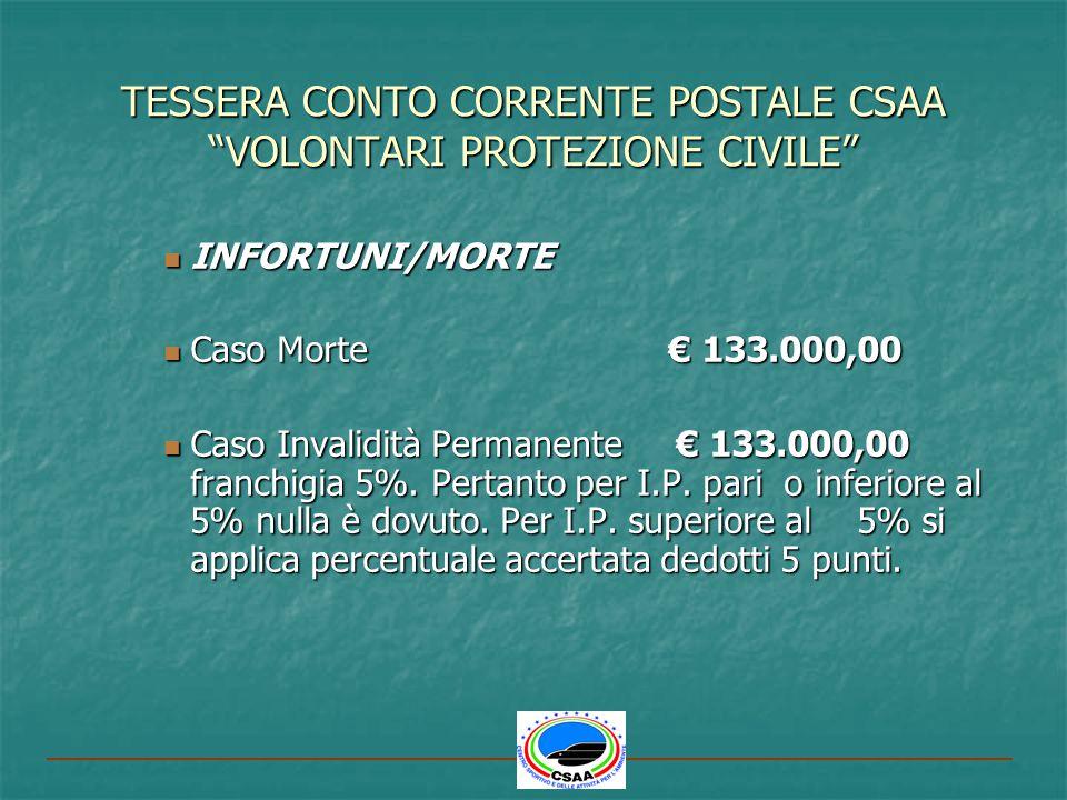 TESSERA CONTO CORRENTE POSTALE CSAA VOLONTARI PROTEZIONE CIVILE