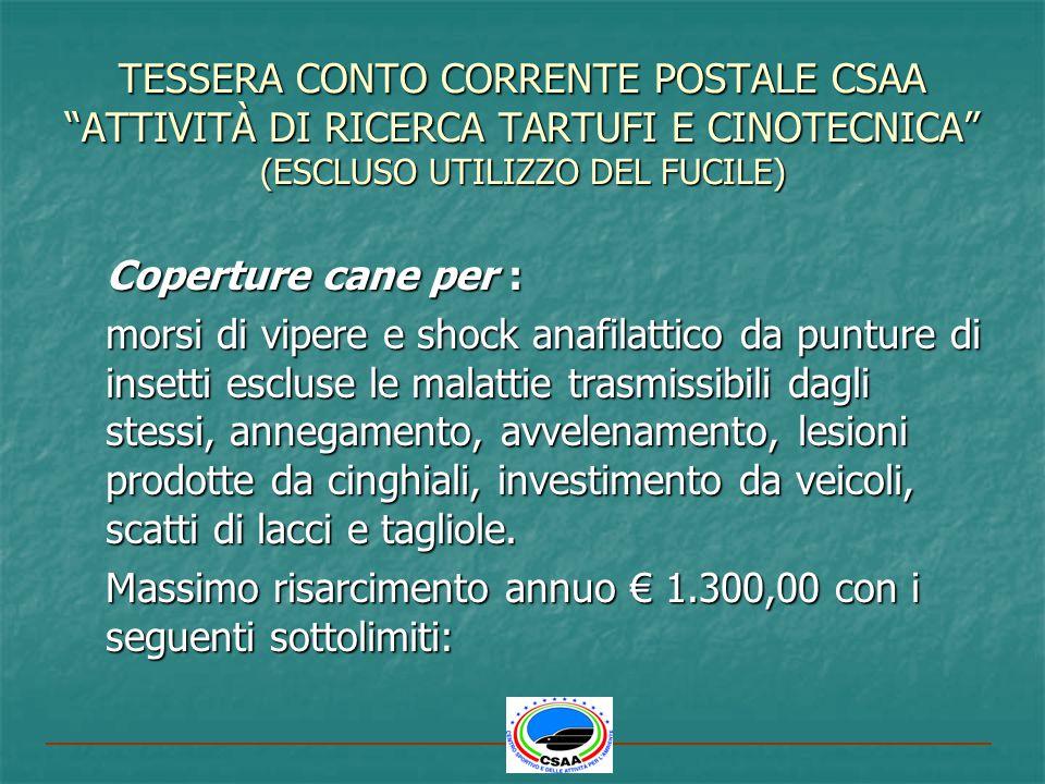 TESSERA CONTO CORRENTE POSTALE CSAA ATTIVITÀ DI RICERCA TARTUFI E CINOTECNICA (ESCLUSO UTILIZZO DEL FUCILE)