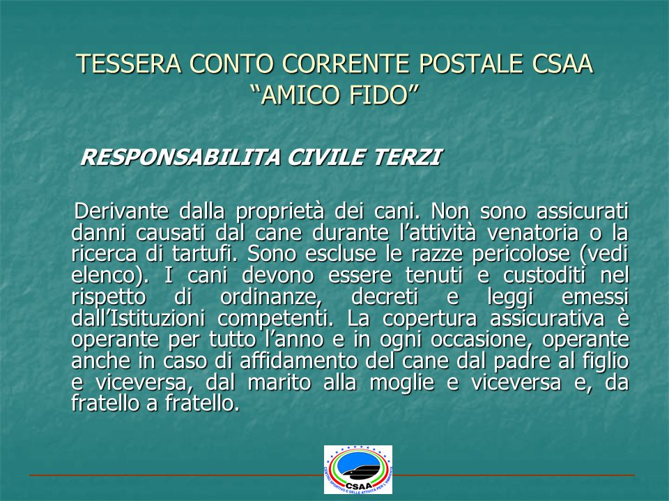 TESSERA CONTO CORRENTE POSTALE CSAA AMICO FIDO