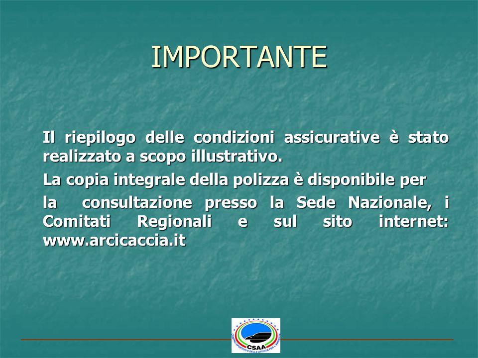 IMPORTANTE Il riepilogo delle condizioni assicurative è stato realizzato a scopo illustrativo. La copia integrale della polizza è disponibile per.