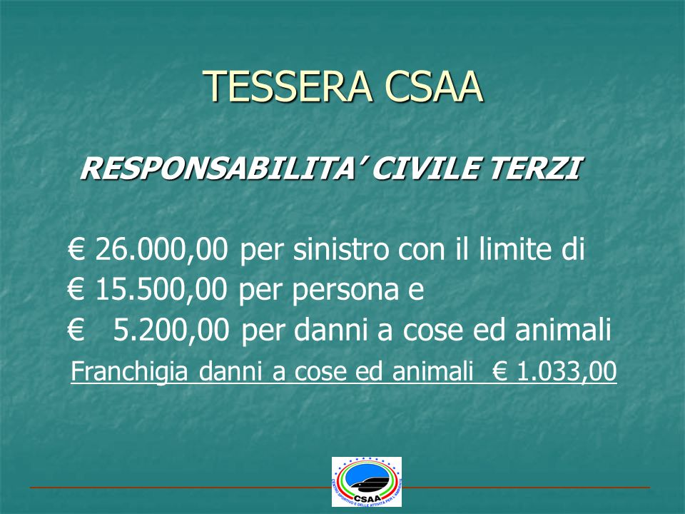 TESSERA CSAA RESPONSABILITA' CIVILE TERZI