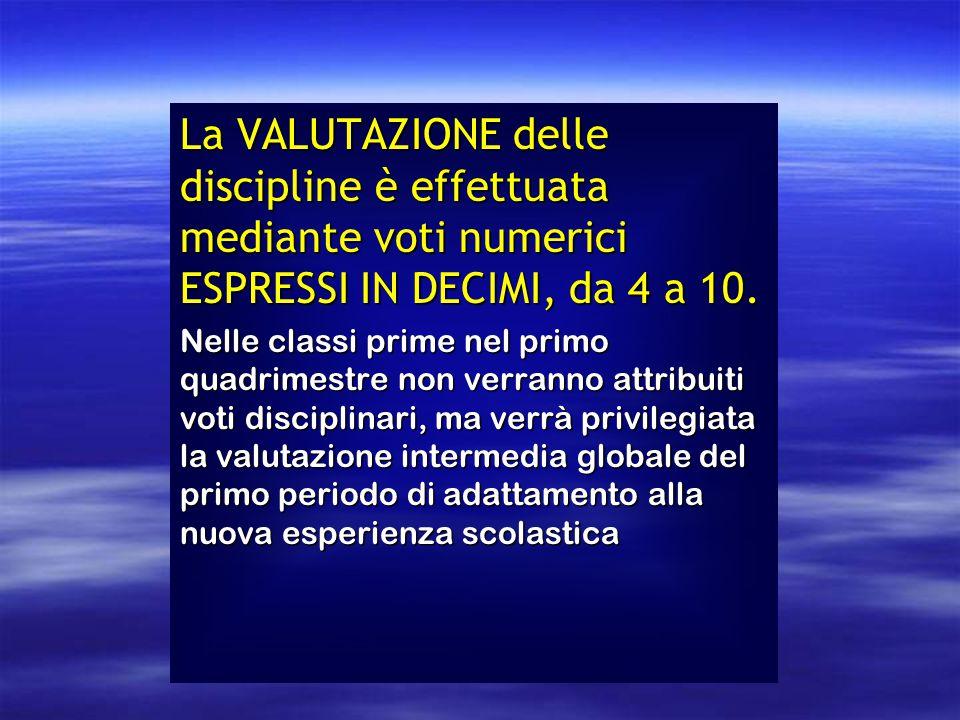 La VALUTAZIONE delle discipline è effettuata mediante voti numerici ESPRESSI IN DECIMI, da 4 a 10.