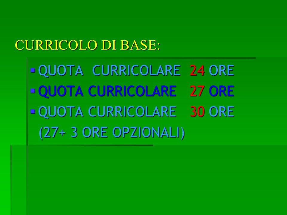 CURRICOLO DI BASE: QUOTA CURRICOLARE 24 ORE. QUOTA CURRICOLARE 27 ORE. QUOTA CURRICOLARE 30 ORE.