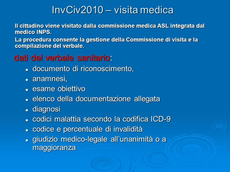 InvCiv2010 – visita medica dati del verbale sanitario:
