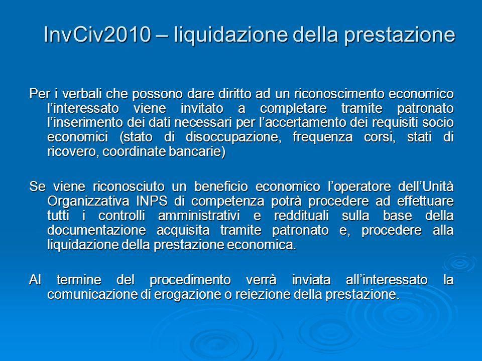 InvCiv2010 – liquidazione della prestazione