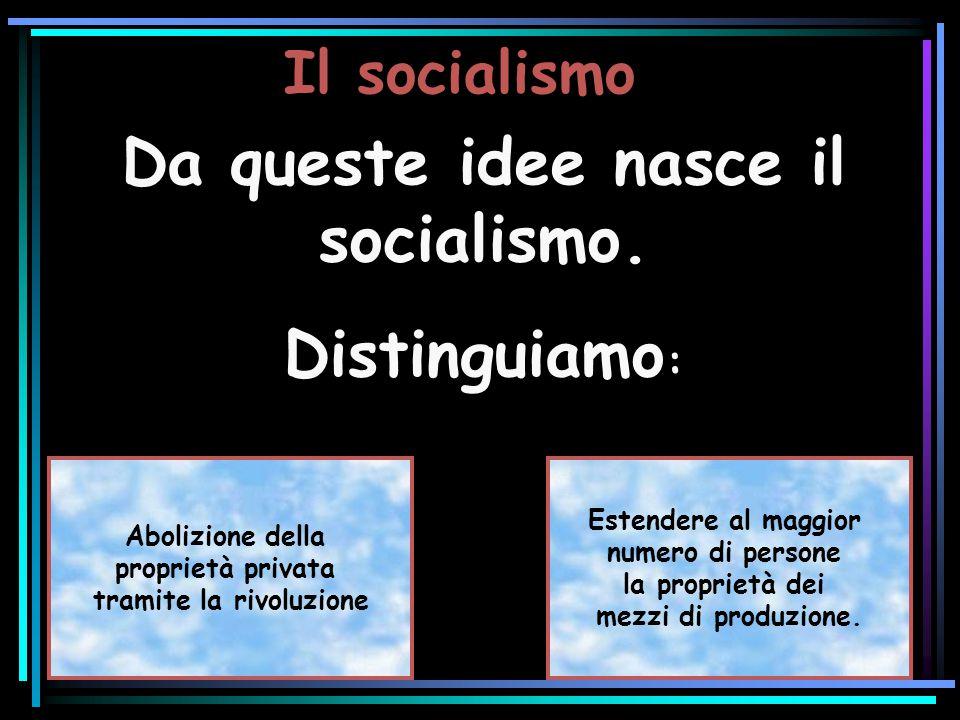 Da queste idee nasce il socialismo. tramite la rivoluzione