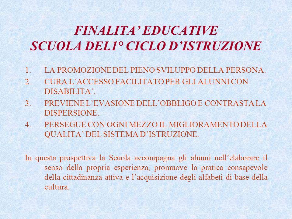 FINALITA' EDUCATIVE SCUOLA DEL1° CICLO D'ISTRUZIONE