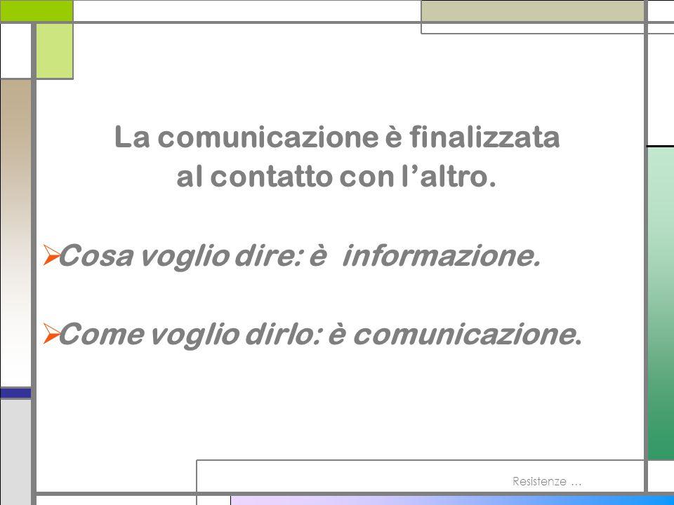 La comunicazione è finalizzata al contatto con l'altro.
