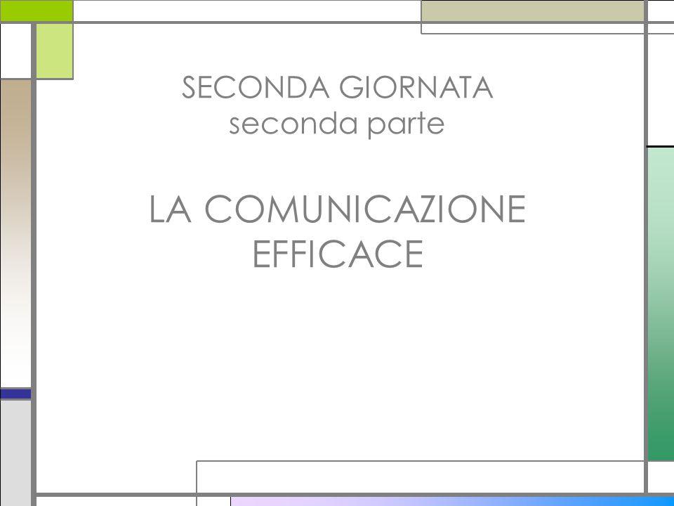 SECONDA GIORNATA seconda parte LA COMUNICAZIONE EFFICACE