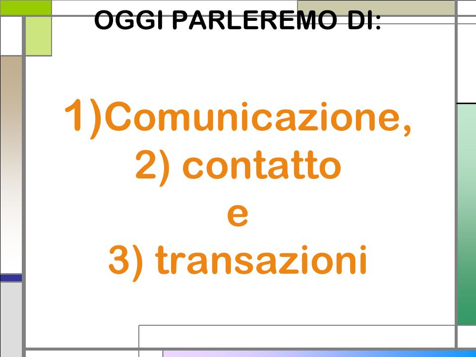 OGGI PARLEREMO DI: 1)Comunicazione, 2) contatto e 3) transazioni