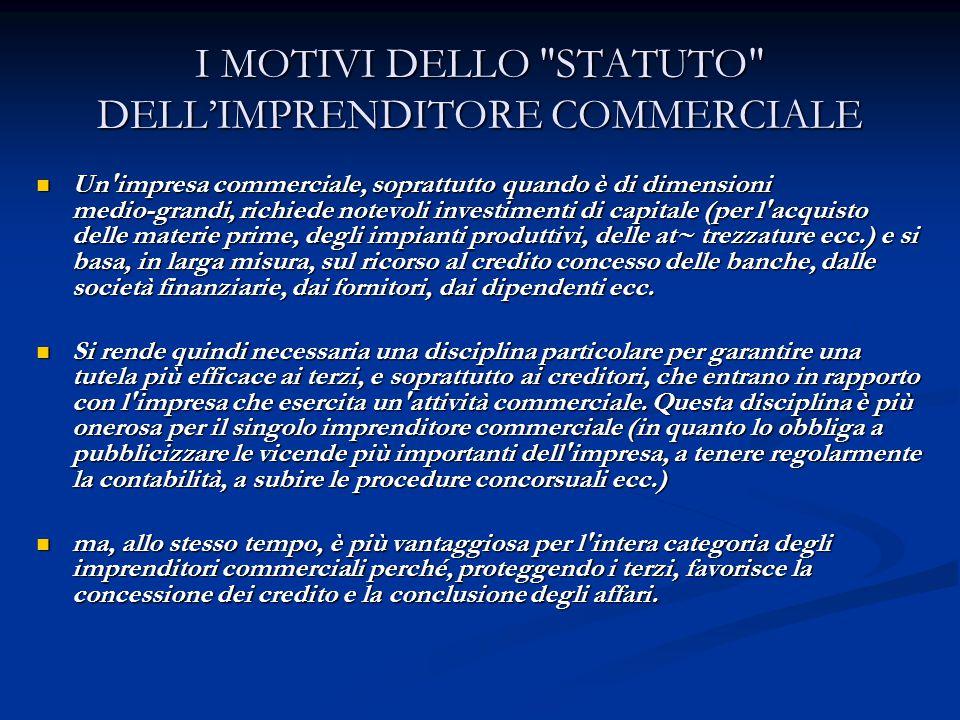 I MOTIVI DELLO STATUTO DELL'IMPRENDITORE COMMERCIALE