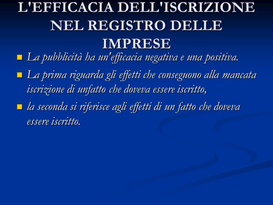 L EFFICACIA DELL ISCRIZIONE NEL REGISTRO DELLE IMPRESE