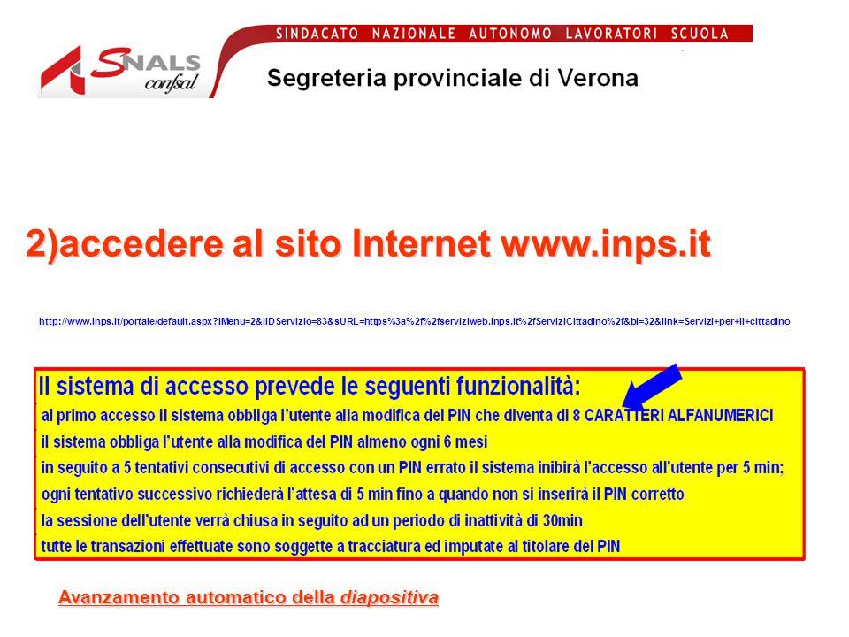 2)accedere al sito Internet www.inps.it