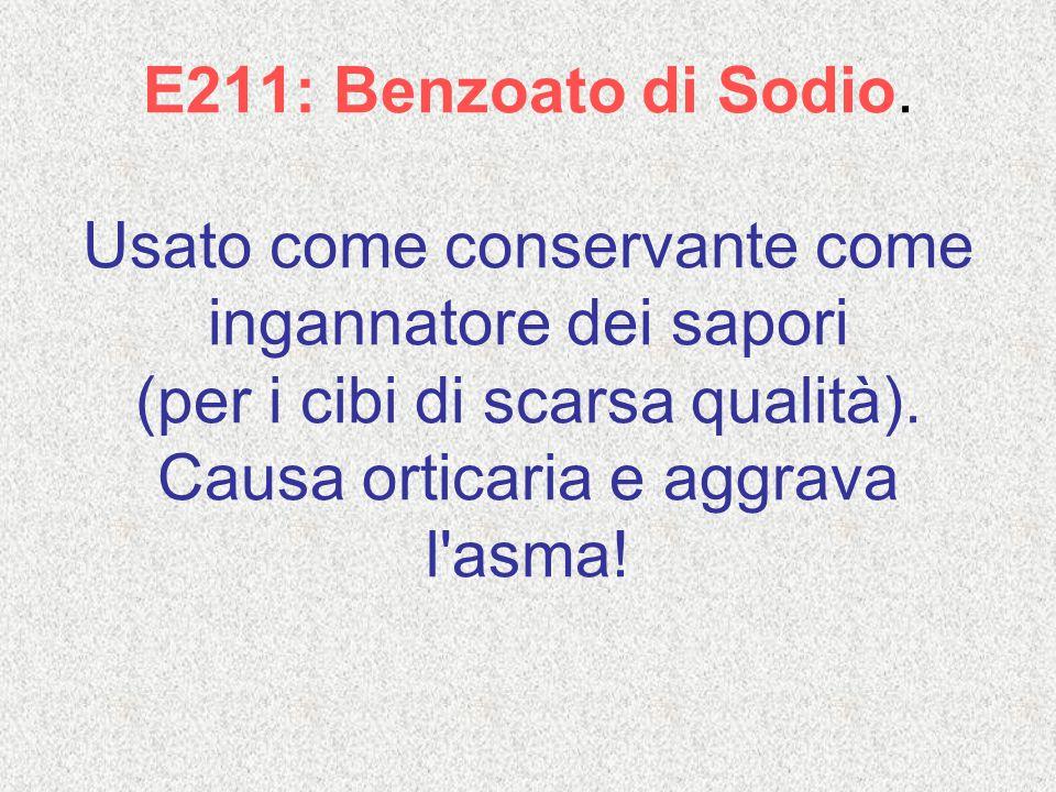 E211: Benzoato di Sodio.