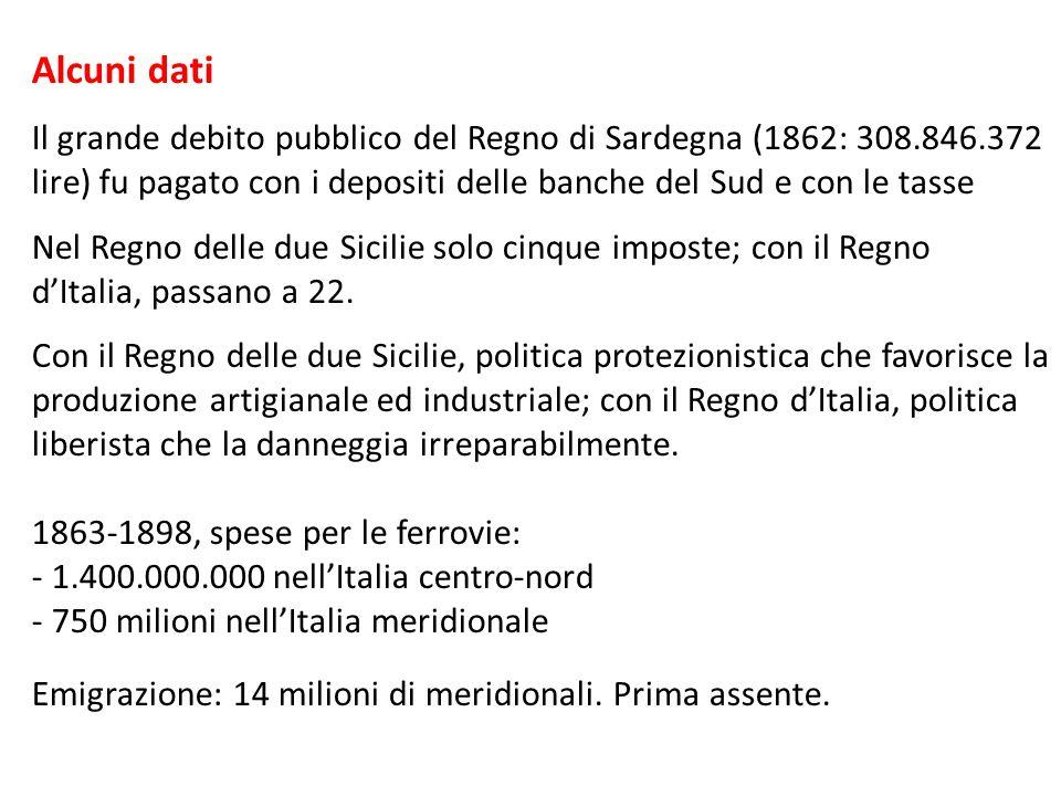 Alcuni dati Il grande debito pubblico del Regno di Sardegna (1862: 308.846.372 lire) fu pagato con i depositi delle banche del Sud e con le tasse.