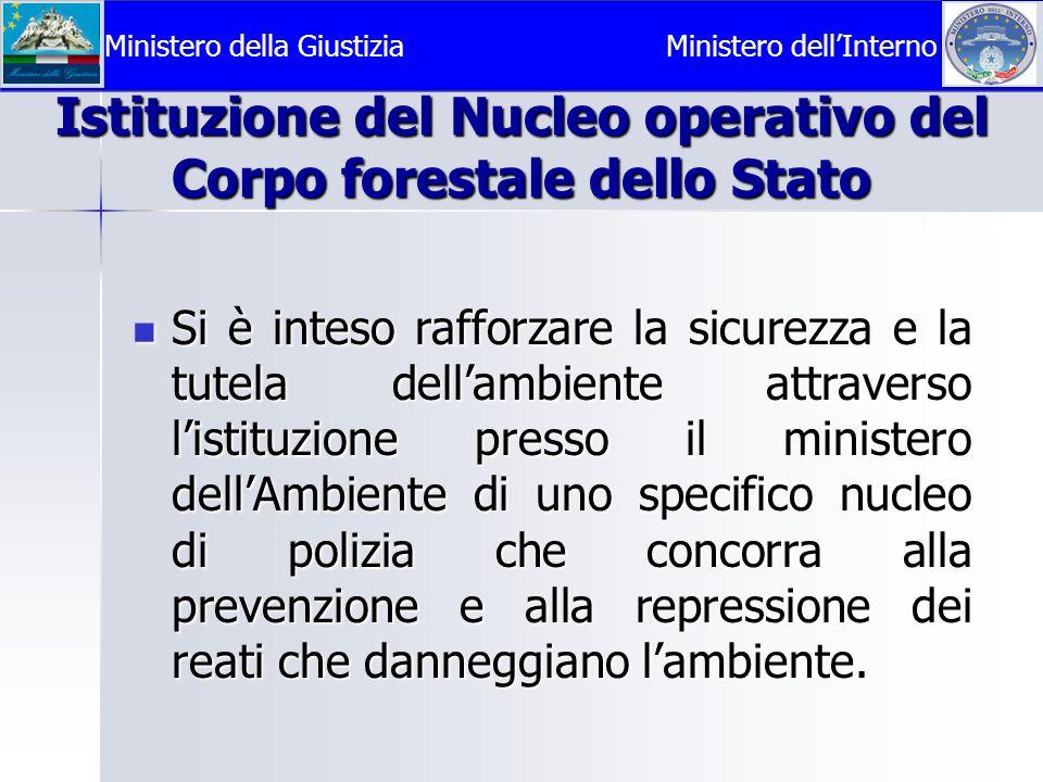 Istituzione del Nucleo operativo del Corpo forestale dello Stato