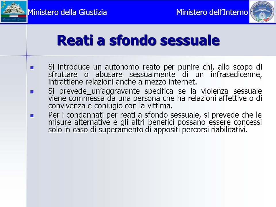 Reati a sfondo sessuale