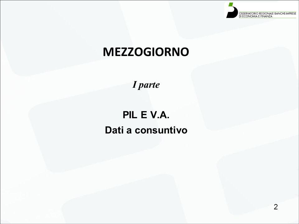 MEZZOGIORNO I parte PIL E V.A. Dati a consuntivo