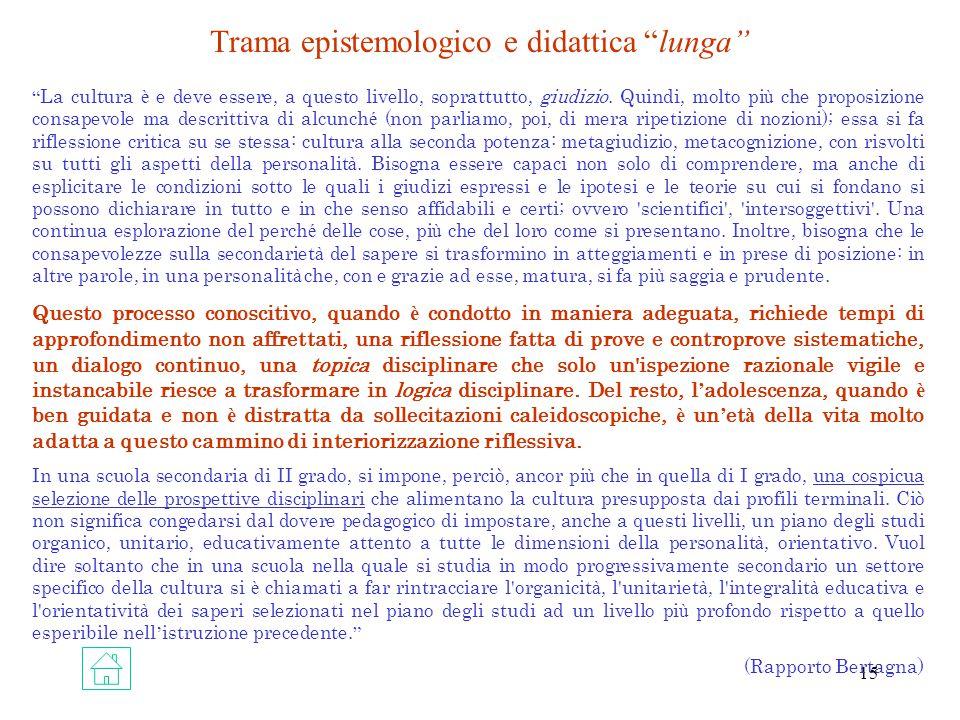 Trama epistemologico e didattica lunga