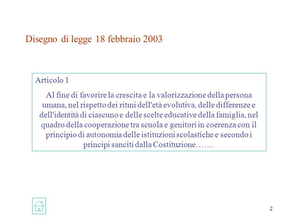 Disegno di legge 18 febbraio 2003