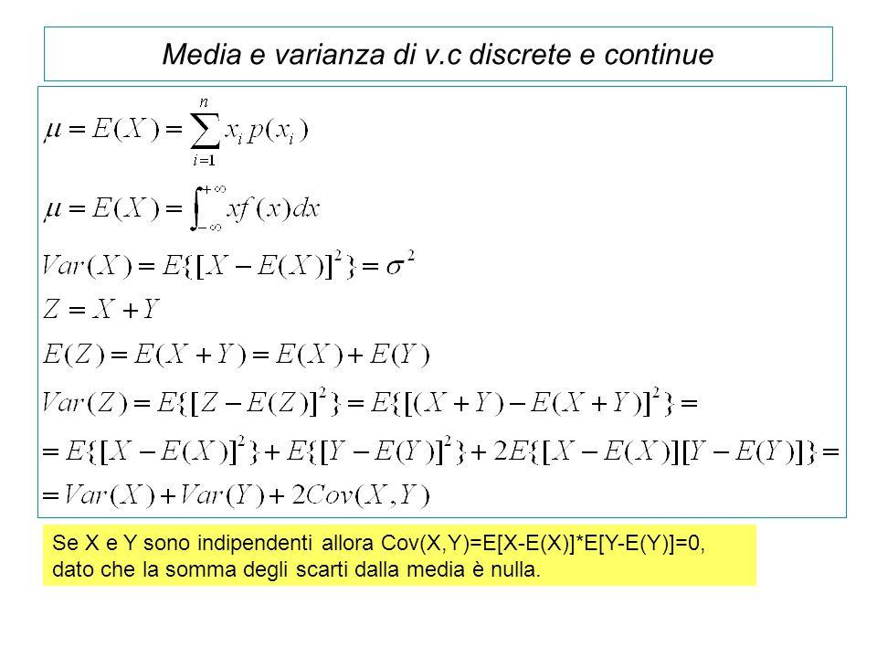 Media e varianza di v.c discrete e continue