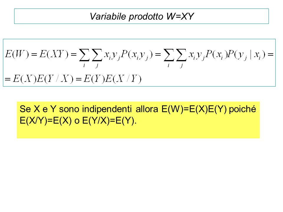 Variabile prodotto W=XY